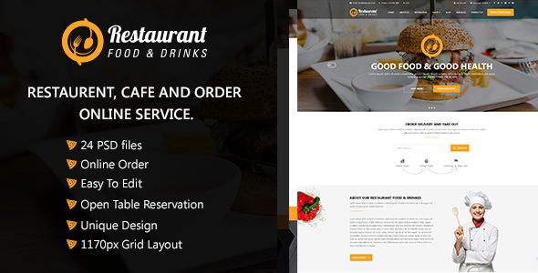 Restaurant  Food & Drinks PSD Template - Food Retail TFx Laurence Alfie