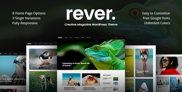 Rever - Clean and Simple WordPress Theme - News / Editorial Blog / Magazine TFx Bysshe Lon