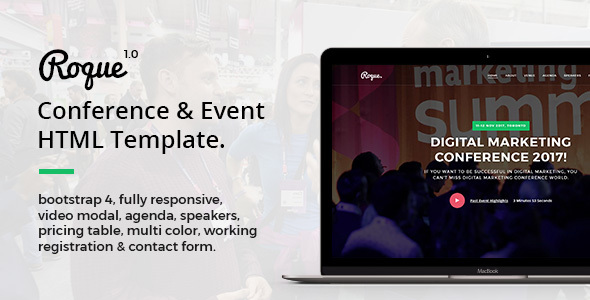 Roque - Conference & Event HTML Template - Events Entertainment TFx Lindy Hector