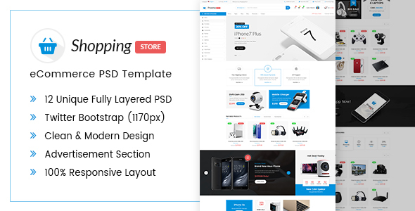 Shopping Store eCommerce PSD Template - Shopping Retail TFx Dell Kelly
