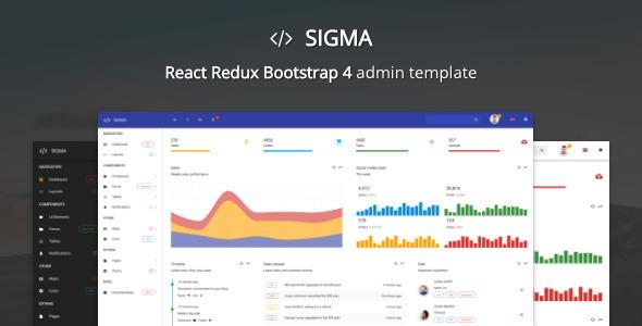 Sigma - React Redux Bootstrap 4 Admin Template - Admin Templates Site Templates TFx Krisna Neal