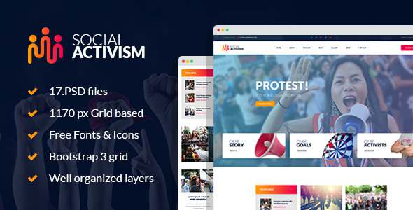 Social Activism - Non-Government Organization PSD Template - Activism Nonprofit TFx Cheyenne Harper