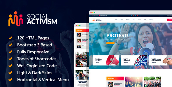 Social Activism - Non-Government Organization HTML Template with builder - Activism Nonprofit TFx Lonny Chile