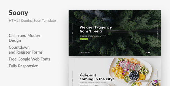 Soony — Powerful Coming Soon HTML Template - Creative Site Templates TFx Nowell Cletus