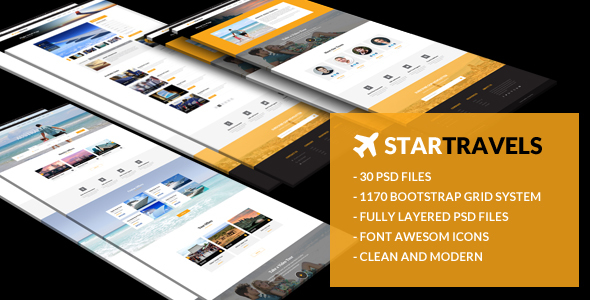 Star Travels - Multipurpose PSD Template - Travel Retail TFx Flynn Abdul