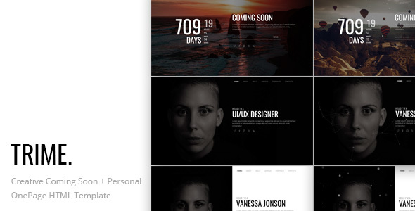TRIME. - Creative Coming Soon and Personal OnePage HTML Template - Specialty Pages Site Templates TFx Vivian Hollis