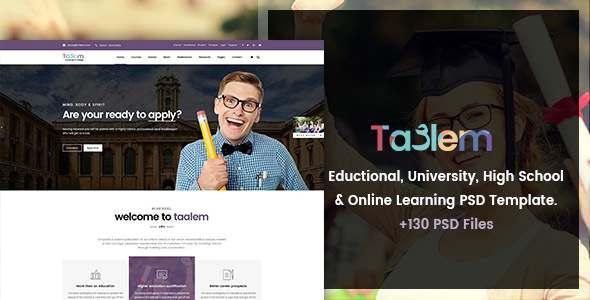 Taalem - Education, University & Online Learning PSD Template - Corporate PSD Templates TFx Ashton Lemoine