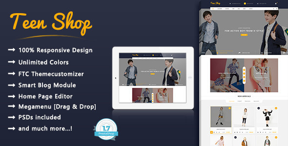 Teen Shop - Kids Clothing, Shopping Responsive Prestashop 1.7 Theme - Shopping PrestaShop TFx Emory Lindsey