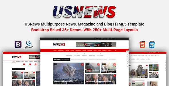 USNews | Multipurpose News, Magazine and Blog HTML5 Template - Entertainment Site Templates TFx Milburn Adam