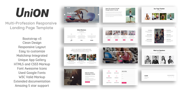 Union - Multi-Profession Responsive Landing Page Template - Landing Pages Marketing TFx Kevyn Dallas