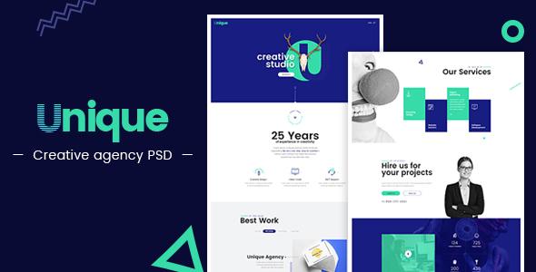 Unique - Creative Agency Landing Page PSD - Creative PSD Templates TFx Ryota Caligula