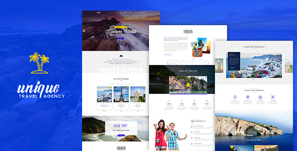Unique Travel Agency landing page PSD template - Travel Retail TFx Eben Dwight
