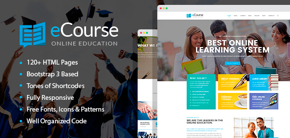 eCourse - Learning Management System, Online LMS HTML Template with Page Builder - Site Templates  TFx Syd Channing
