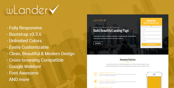 wLander - Responsive Multipurpose Landing Page Template - Landing Pages Marketing TFx Kiaran Branson