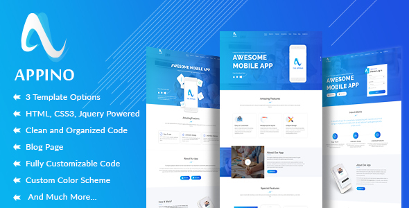 APPINO! - A Perfect Mobile App Landing Page - Technology Site Templates TFx Anderson Dalton