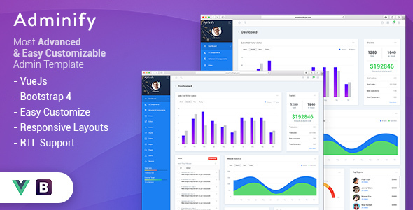 Adminify - VueJS Bootstrap4 Admin Template            TFx Harry Riley