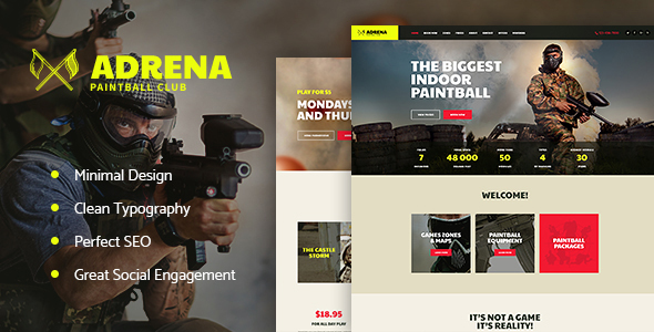 Adrena | Paintball Club WordPress Theme - Entertainment WordPress TFx Devin Lauren