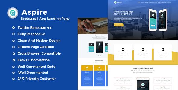 Aspire -Bootstrap4 App Landing Template            TFx Sequoia Hallam