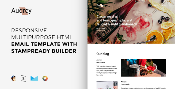 Audrey – Responsive Multipurpose Email Template + Stampready Builder            TFx Lonny Surya