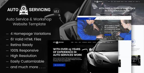 AutoServicing - Auto Service & Garage/Workshop Website Template            TFx Eric Susilo