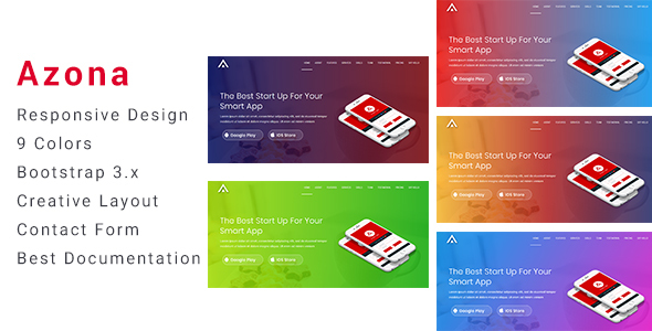 Azona - Responsive App Landing Template - Technology Site Templates TFx Hovsep Michelangelo