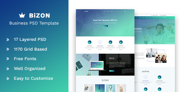 Bizon - Business and Agency PSD Template - Corporate PSD Templates TFx Malcom Purdie