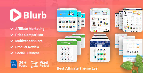 Blurb - Price Comparison, Affiliate Website, Multi vendor Store and Product Review PSD Template            TFx Braxton Darell
