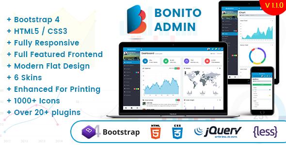 Bonito - Responsive Bootstrap 4 Admin Template Dashboard - Admin Templates Site Templates TFx Alex Kent