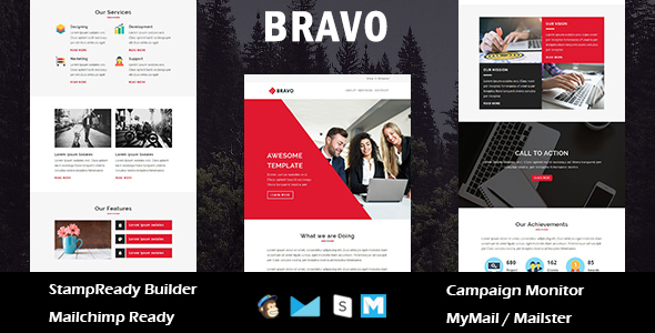 Bravo - Multipurpose Responsive Email Templates with Stamp Ready Builder Access - Newsletters Email Templates TFx Ira Putra