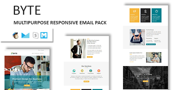 Byte - Multipurpose Responsive Email Template With Stamp Ready Builder Access - Newsletters Email Templates TFx Walt Reginald