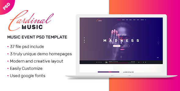 CARDINAL Music | Professional Multi-Purpose Responsive PSD Template            TFx James Ketut