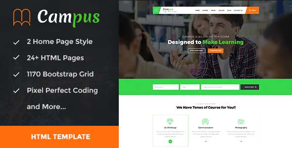 Campus - Education, Course, e-Learning and Events HTML Template            TFx Travers Gore