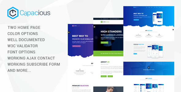 Capacious Responsive HTML Landing Template            TFx Red Dom