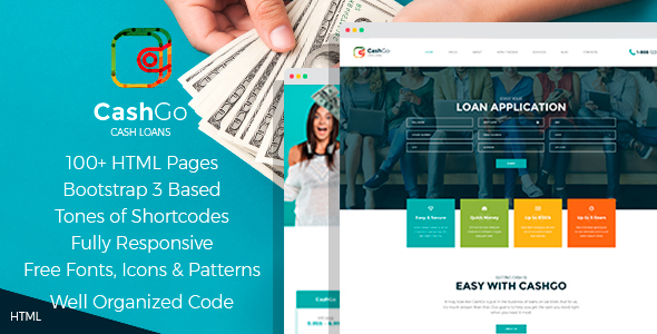 CashGo - Fast Loan Financial Company HTML Template with Visual Page Builder            TFx Bertrand Esme