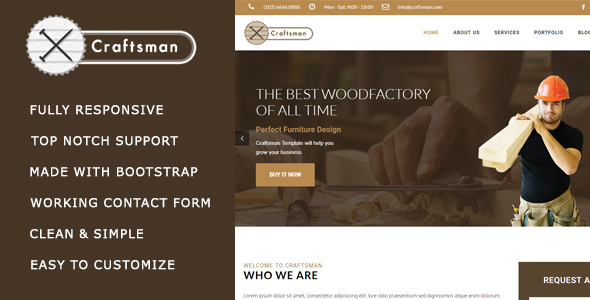 Craftsman – Carpentry/Woodwork HTML Template            TFx Lou Dillon