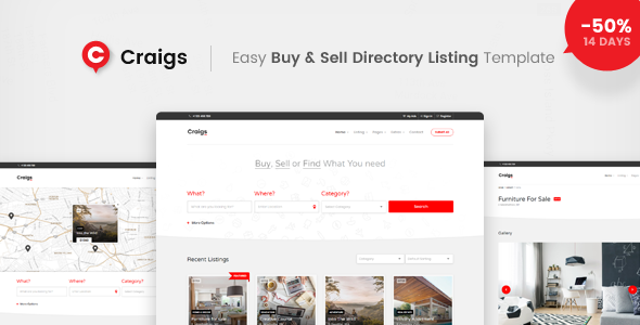 Craigs - Easy Buy & Sell Directory Template - Business Corporate TFx Mikey Parker
