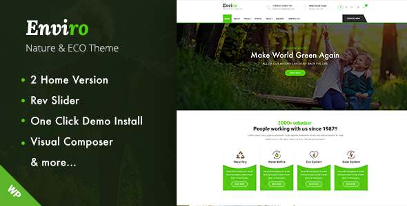 Enviro - Environment WordPress Theme            TFx Vahagn Goddard