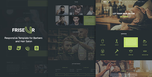 FRISEUR - Responsive Template for Barbers and Hair Salon            TFx Joe Laird