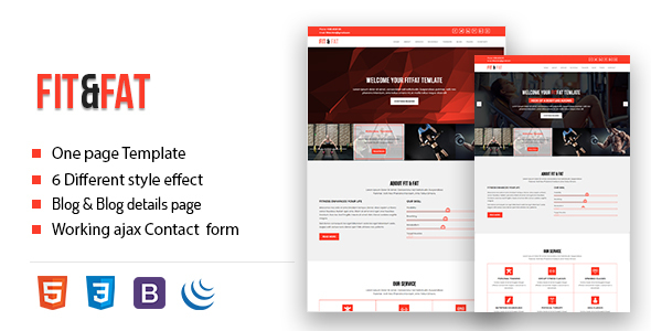 Fit&fat - Fitness And Gym Onepage HTML5 Template            TFx Douglas River