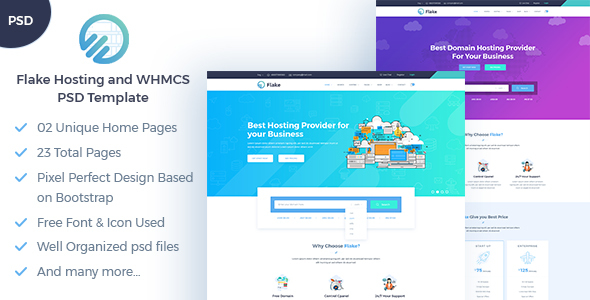 Flake Hosting and WHMCS Technology PSD Template            TFx Elias Wayne