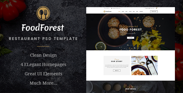 FoodForest | Restaurant PSD Template            TFx Tom Shikoba