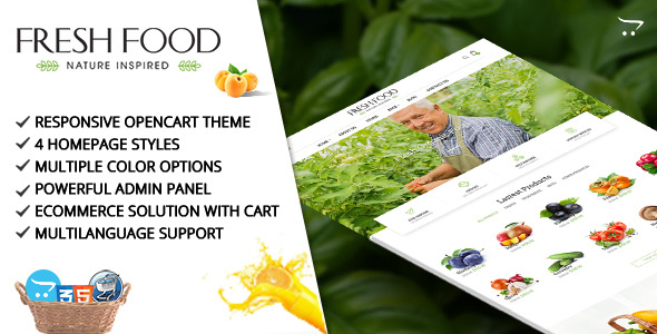 Fresh Food – Opencart Template for Organic Food/Fruit/Vegetables            TFx Leo Bradford