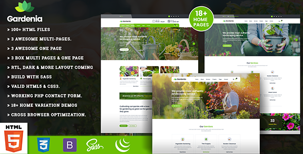 Gardening - Landscaping & Lawn HTML5 Template - Business Corporate TFx Jerry August