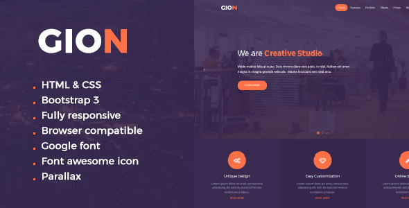 Gion HTML One Page Template - Corporate Site Templates TFx Hadrian Sly