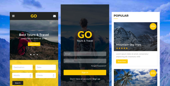 Go - Tours & Travel Mobile Template            TFx Damion Junior