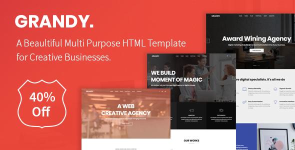 Grandy - Creative Multi Purpose Big HTML5 Template            TFx Ara Avag