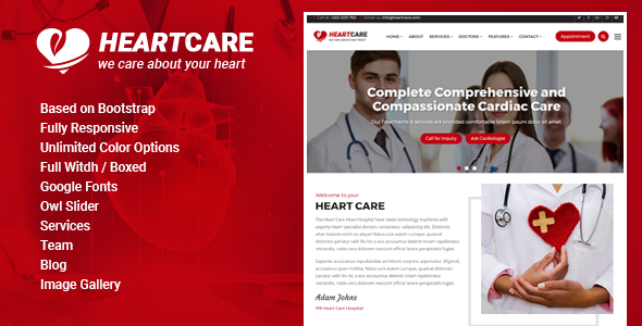 Heart Care - Heart and Medical Care HTML Template            TFx Daisuke Flannery