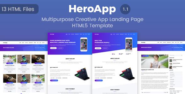 HeroApp – Multipurpose Creative App Landing Page HTML5 Template            TFx Sachie Robbie