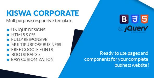 Kiswa - Multipurpose Responsive Template - Corporate Site Templates TFx Marshal Emerson