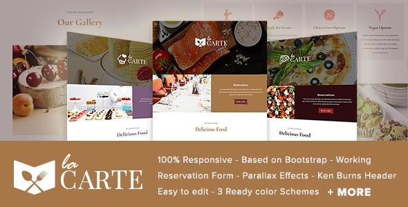 La Carte -  Restaurant / Food  HTML5 Template - Restaurants & Cafes Entertainment TFx Jerred Jaxon